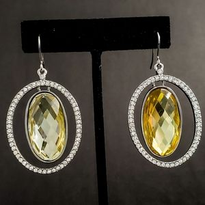 GORGEOUS Sparkly Yellow Rhinestone Earrings